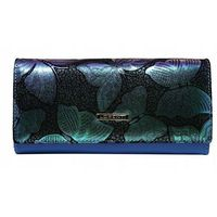 Skórzany portfel damski opalizujący niebieski lorenti 76110