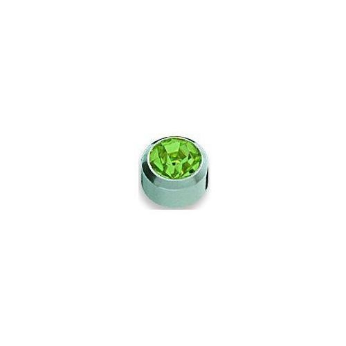 Kolczyk Peridot w oprawie pełnej kolor srebrny+ R208W