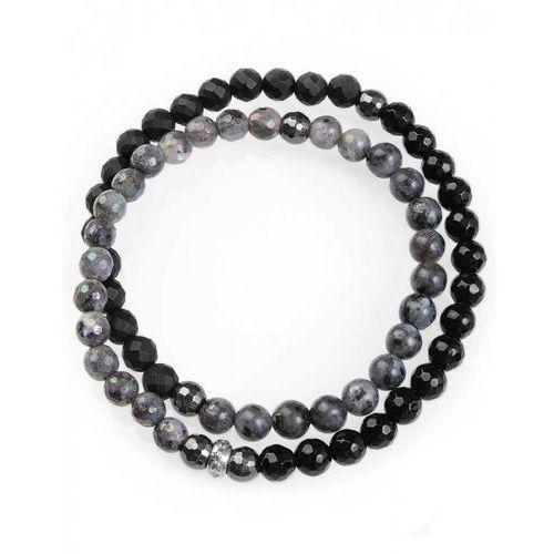 Bransoletka Wrap agat czarny, onyks czarny, labradoryt szary oraz hematyt grafitowy 6 mm XL, kolor czarny