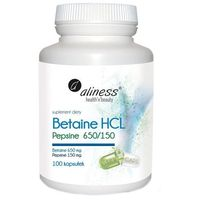 Betaine HCL Pepsyna 650/150 mg 100kaps – enzymy trawienne - Aliness