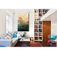 turkus i złoto - abstrakcja- zamówienie indywidualne 60x180cm