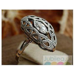 REAL - srebrny pierscionek z kryształem