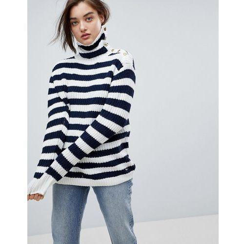Pepe Jeans Stripe Funnel Neck Wool Blend Jumper - Cream, kolor beżowy