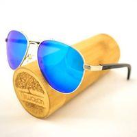 Drewniane okulary przeciwsłoneczne Niwatch Musca Blue Mirror