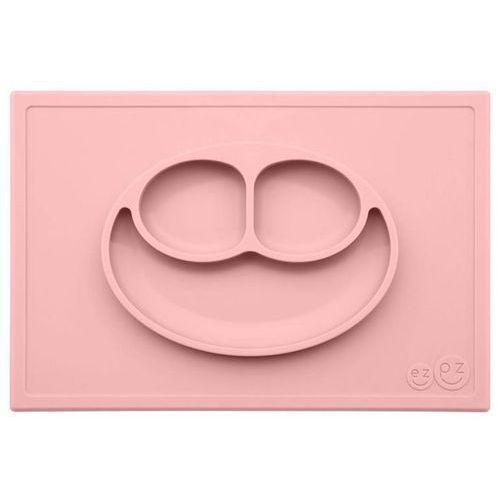 Ezpz silikonowy talerzyk z podkładką 2w1 happy mat - pastelowy róż