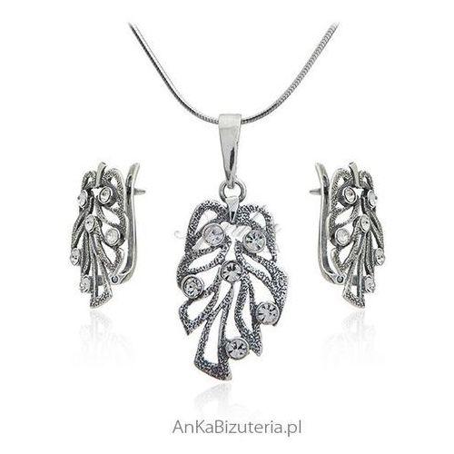 Biżuteria srebrna komplet oksydowany z cyrkoniami