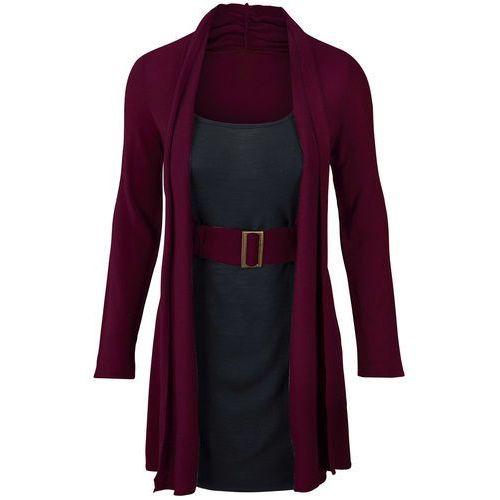 Sukienka dzianinowa z paskiem bonprix jeżynowo-czarny
