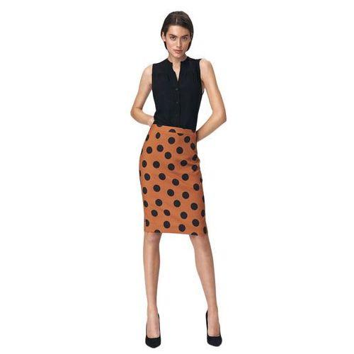 Ołówkowa spódnica w grochy - brąz - sp48 marki Nife