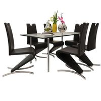 vidaXL Zestaw 6 krzeseł czarnych ze sztucznej skóry (8718475902607)