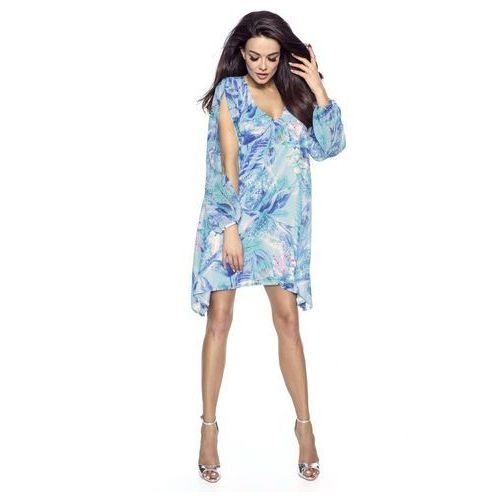 6bf9c4bbe3 Błękitna Sukienka Asymetryczna z Rozciętymi Rękawami