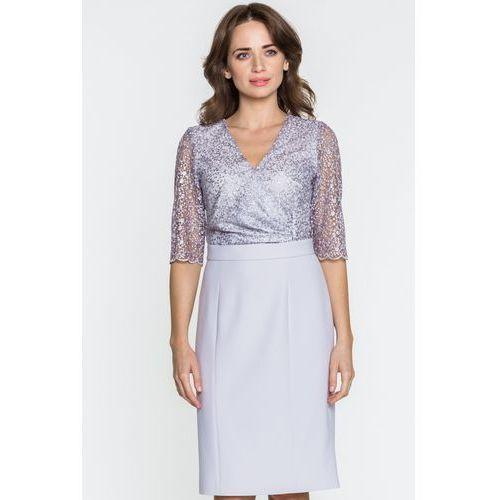 Gapa fashion Szara sukienka z koronką