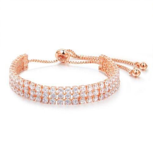 Mak-biżuteria Br599/889 bransoletka ślubna różowe złoto z cyrkoniami