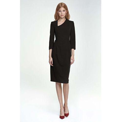 bdd7432a58 Czarna sukienka z asymetrycznym dekoltem