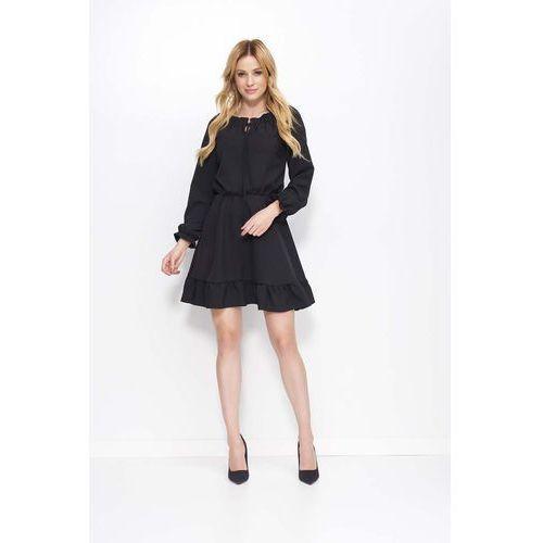 a07888bb1c Czarna sukienka z falbankami i wiązaniem przy dekolcie marki Makadamia -  Foto