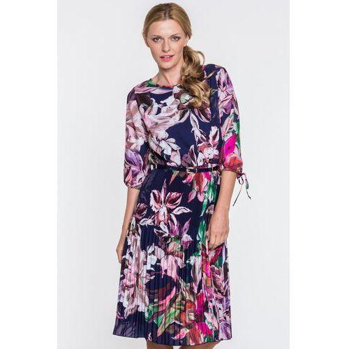 412007cfe5 Zobacz ofertę Granatowa sukienka w kwiaty ANETA. POZA