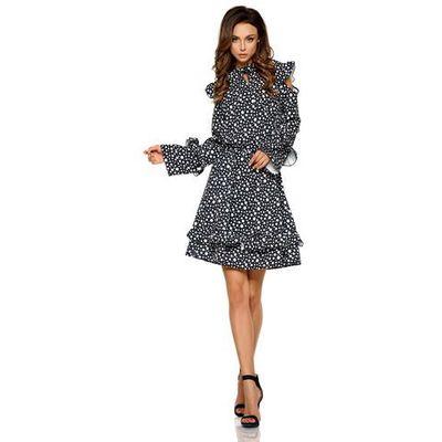 3df216a1fa Wzorzysta sukienka w kropki z falbankami typu cold shoulder marki Lemoniade  MOLLY