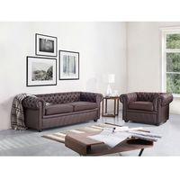 Beliani Sofa kanapa skórzana brązowa klasyka dom biuro chesterfield