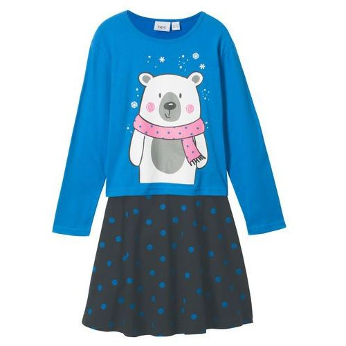 Shirt z długim rękawem + spódniczka (2 części) lodowy niebieski - czarny marki Bonprix