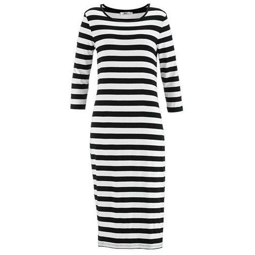 0d165fe82 Zobacz w sklepie Sukienka z rękawami 3/4 czarno-biały w paski Bonprix