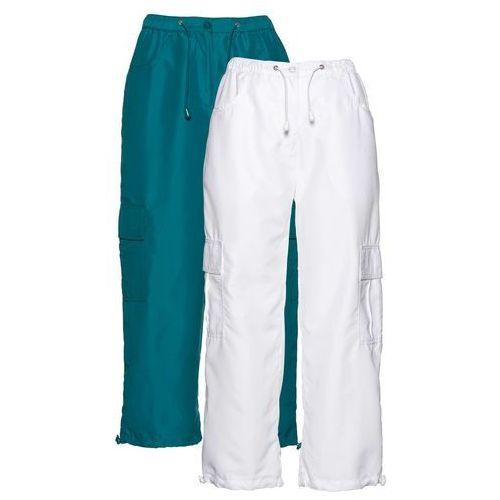Spodnie 7/8 (2 pary) bonprix kobaltowo-turkusowy + biały, w 7 rozmiarach