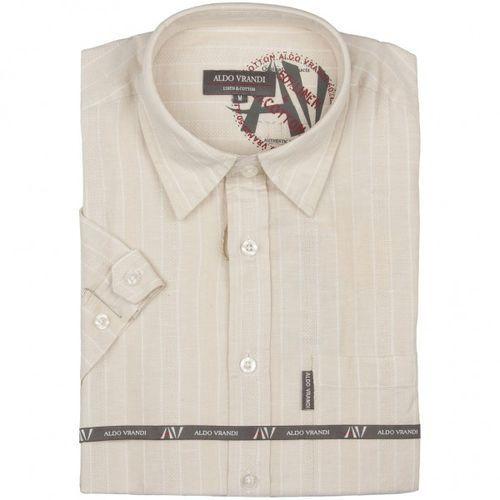 Lniana koszula męska z krótkim rękawem Aldo Vrandi, kolor brązowy