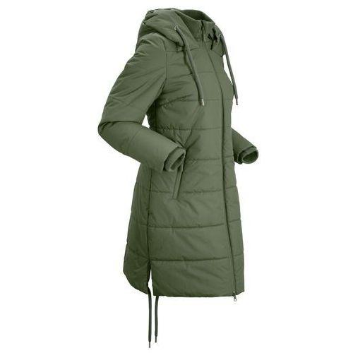 Płaszcz pikowany outdoorowy bonprix ciemny khaki, kolor zielony