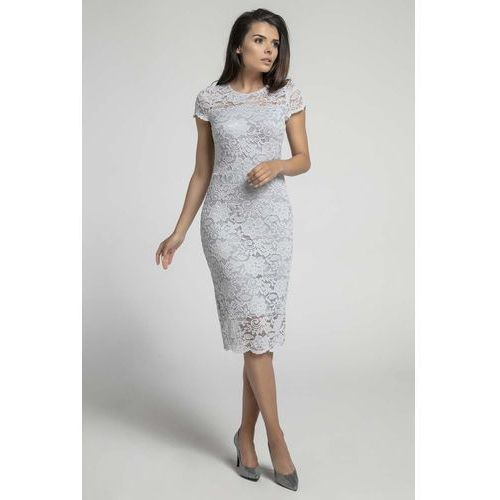 ae3de43314 Szara koronkowa ołówkowa sukienka midi z dekoltem v na plecach