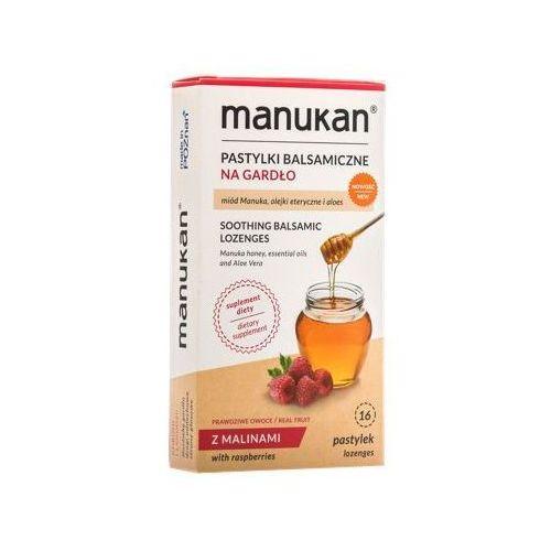 Tabletki Manukan Miód Manuka pastylki na gardło o smaku malinowym 16 tabl.