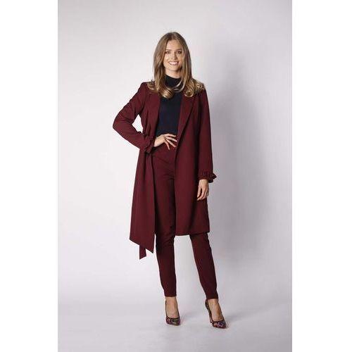 Bordowy Elegancki Płaszcz z Falbanką na Rękawie, kolor czerwony