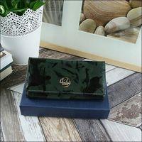 Skórzany portfel damski czarno - zielony forever young 64003
