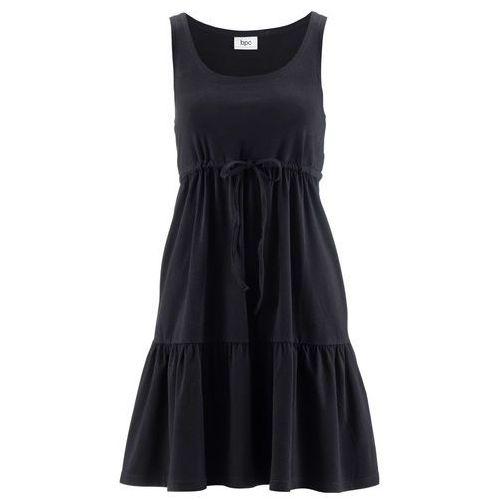 Sukienka shirtowa z wiązanym paskiem bonprix czarny, kolor czarny