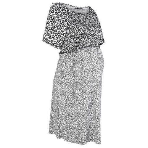 Sukienka ciążowa shirtowa bonprix czarno-biały w kwiaty