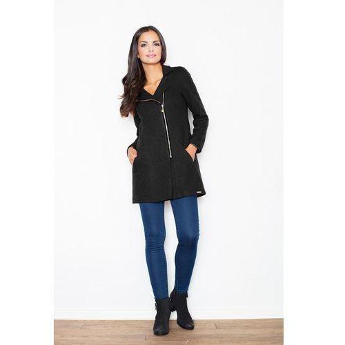 Czarny Krótki Taliowany Płaszcz z Asymetrycznym Zamkiem, kolor czarny