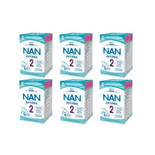 Zestaw 6x nestle optipro 2 800g (2x400g) mleko następne w proszku dla dzieci od 6 miesiąca, karton Nan