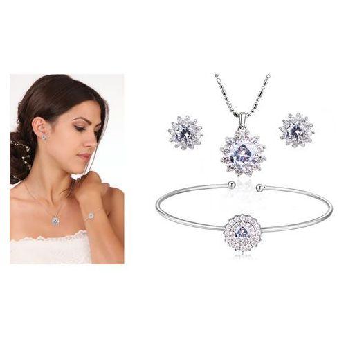 Kpl888 komplet ślubny, biżuteria ślubna z cyrkoniami b599/656 k579/579