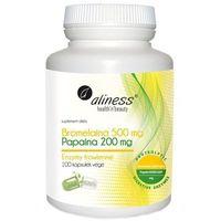 Bromelaina 500mg, Papaina 200 mg VEGE – 100 kaps – Aliness