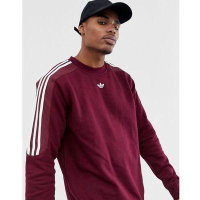 38acb047a adidas Originals sweatshirt with trefoil logo print 3 stripes in burgundy  FH6883 - Red ASOS