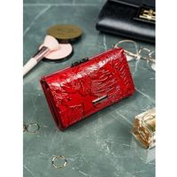 Lakierowany czerwony portfel cavaldi damski skóra