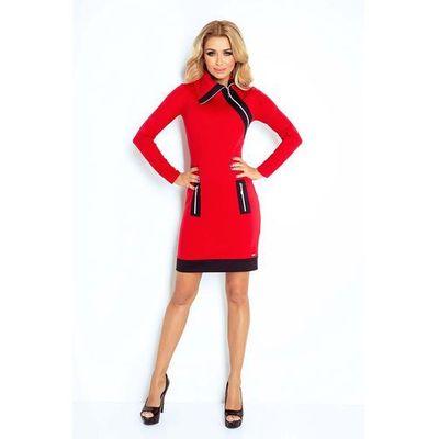 33ba5c28e8 Czerwono czarna sukienka ołówkowa z kontrastowymi suwakami marki Numoco  MOLLY