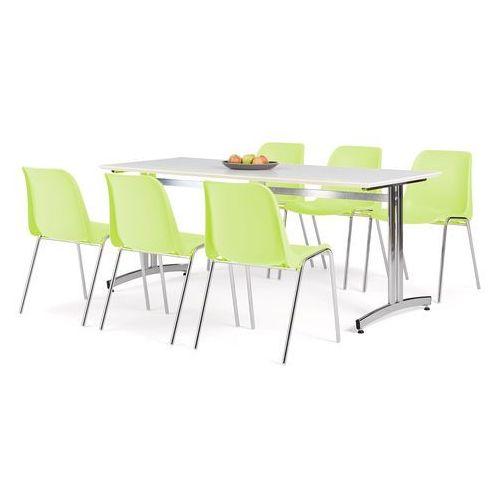 Zestaw mebli, stół 1800x700 mm, biały + 6 krzeseł limonkowy/chrom