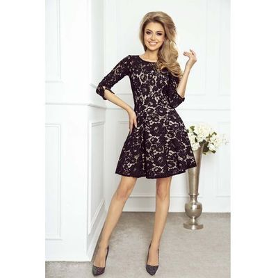 183e84af3c suknie sukienki dluga sukienka na wesele nude z czarna koronka w ...