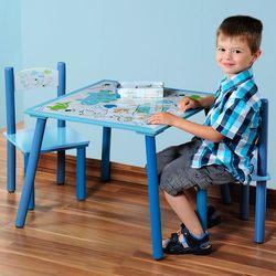 Kesper Drewniany stolik dla dzieci i 2 krzesła w kolorze niebieskim z motywem dinozaura, stolik z krzesełkami dla dzieci, meble chłopięce,