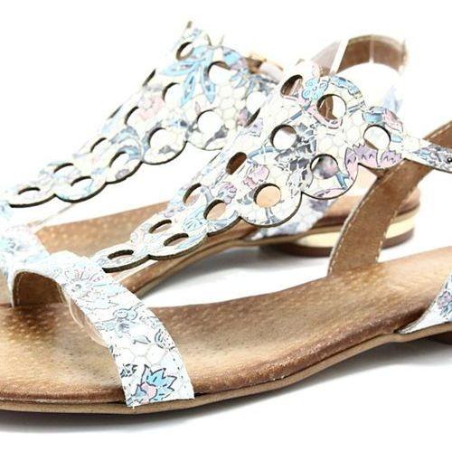 cb06d430ecbb4 502/1 kwiaty - płaskie sandały, skórzane - multikolor marki Ravini - zdjęcie