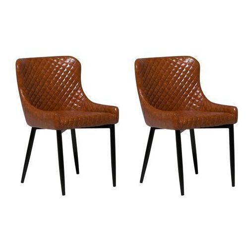 Zestaw do jadalni 2 krzesła Old Style brąz skóra ekologiczna SOLANO (4260602370611)