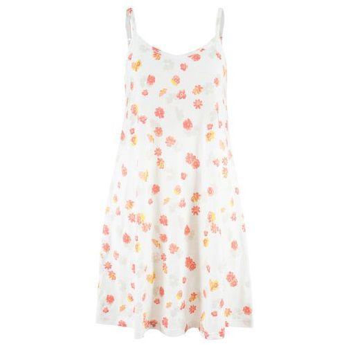 Bonprix Sukienka shirtowa w kwiaty biel wełny z nadrukiem