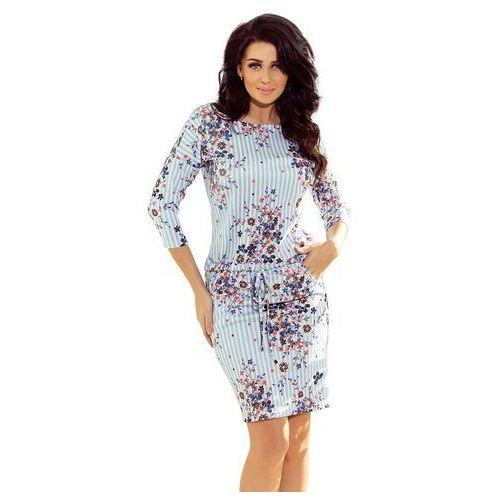 9a95b168af Niebieska sukienka ściągana w paski i kwiaty (Numoco) - sklep ...