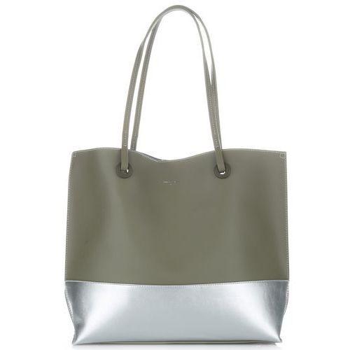 4528aaa6376a9 Duże torebki damskie shopper xl z kosmetyczką firmy khaki marki David jones