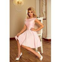 Sukienka elegancka rozkloszowana z koronką - różowa