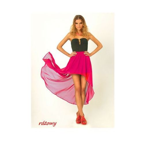 Zwiewna maxi spódnica asymetryczna szyfon różowy, kolor różowy