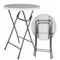 Składany, okrągły stół barowy, biały.